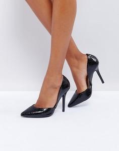 Черные туфли-лодочки на каблуке с эффектом змеиной кожи Glamorous - Черный