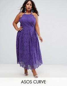 Кружевное платье миди для выпускного ASOS CURVE - Фиолетовый
