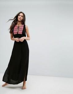 Пляжное платье макси с вышивкой Liquorish - Черный