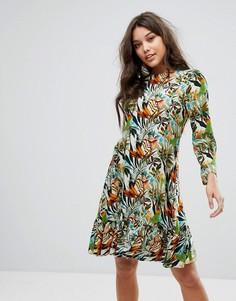 Платье с заниженной талией и длинными рукавами Y.A.S - Мульти