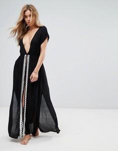 Пляжное платье макси с вышивкой и разрезом Liquorish - Черный