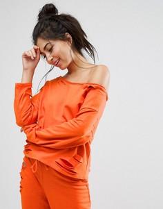 Свитшот с открытыми плечами и рваной отделкой ASOS LOUNGE - Оранжевый