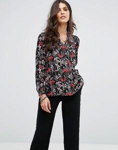 Рубашка в полоску с цветочным принтом BA&SH - Черный Ba&Sh