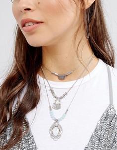 Многорядное ожерелье с чокером и подвесками Glamorous - Серебряный