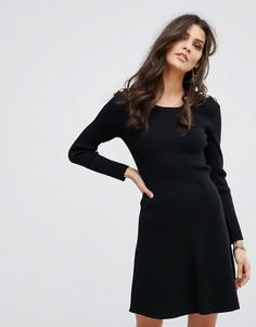 Платье-джемпер с отделкой на плечах BA&SH - Черный Ba&Sh