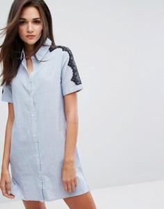 Платье-рубашка с кружевной отделкой Influence - Синий