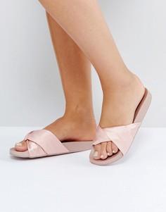 Атласные шлепанцы New Look - Розовый