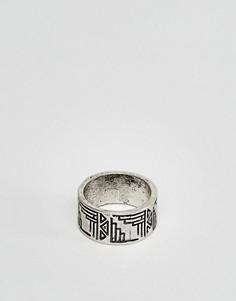 Кольцо на мизинец с ацтекским орнаментом ASOS - Серебряный