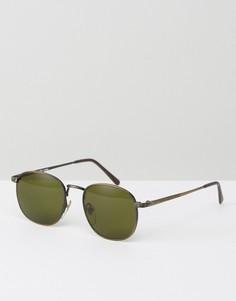 Круглые черные солнцезащитные очки с зелеными стеклами Reclaimed Vintage - Золотой
