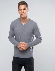 Серый джемпер из 100% мериносовой шерсти с V-образным вырезом United Colors of Benetton - Серый