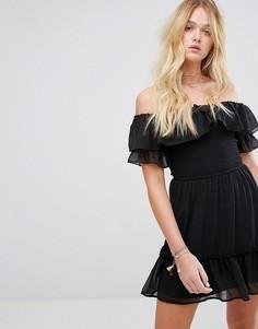 Платье в стиле бохо с открытыми плечами Hollister - Черный