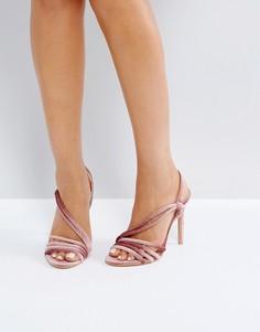 Светло-розовые босоножки из бархата на каблуке Public Desire - Розовый