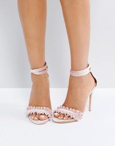 Босоножки на каблуке телесного цвета Public Desire Phoenix - Розовый
