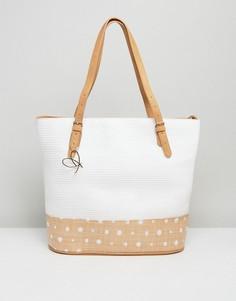 Большая сумка-тоут с отделкой в спортивном стиле Pia Rossini Summer - Белый