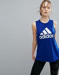 Синий топ с логотипом adidas Training - Синий