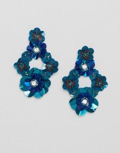 Серьги-подвески с 3D цветками Glamorous - Синий