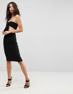 Платье-бандо миди с бантом ASOS - Черный
