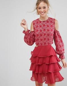 Платье с кружевом и оборками Isla Allegro - Розовый