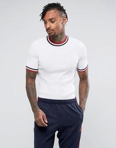 Белая обтягивающая футболка в рубчик с окантовкой ASOS - Белый