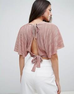 Плиссированный топ в стиле кимоно Love - Розовый