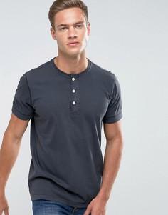 Черная футболка хенли узкого кроя Abercrombie & Fitch - Черный
