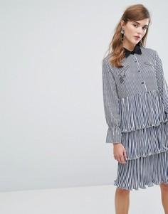Ярусное платье-рубашка миди в полоску с оборками и нашивками Sister Jane - Синий