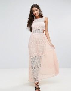 Кружевное платье макси Boohoo - Розовый
