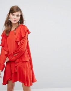 Платье с длинным рукавом и оборками Sister Jane - Красный