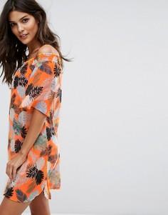 Платье с цветочным принтом и вырезом лодочкой New Look - Оранжевый