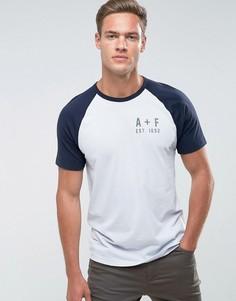 Синяя облегающая футболка с рукавами реглан и логотипом Abercrombie & Fitch - Синий