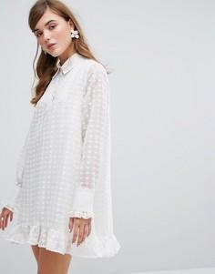 Платье-рубашка с прозрачной вышитой накладкой Sister Jane - Белый
