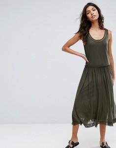 Сетчатое платье миди с принтом Selected - Зеленый