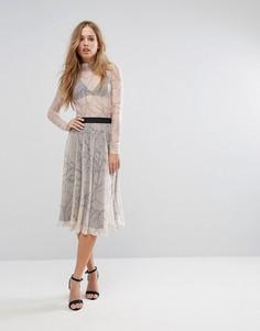 Сетчатая юбка миди с принтом Selected - Мульти