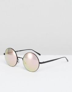 Круглые солнцезащитные очки с черными зеркальными стеклами Quay Australia Electric Dreams - Черный