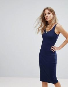 Платье миди в рубчик Brave Soul - Темно-синий