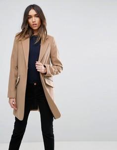 Пальто бойфренда с карманом на молнии ASOS - Светло-серый