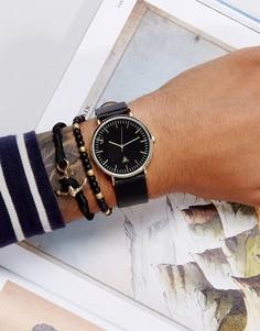 Часы с ремешком из искусственной кожи и браслет с якорем ASOS - Черный