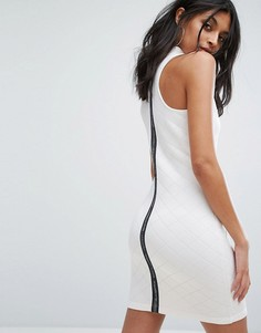 Белое стеганое платье с высоким воротом adidas Originals - Белый