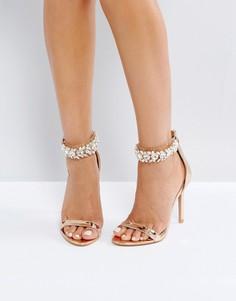 Золотистые босоножки на каблуке с отделкой камнями Public Desire Fiji - Золотой