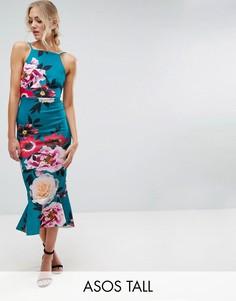 Платье миди с цветочным принтом и оборкой на подоле ASOS TALL - Синий