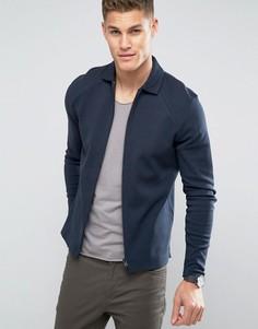 Трикотажная куртка на молнии Selected Homme - Темно-синий