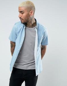 Облегающая эластичная джинсовая рубашка ASOS - Синий