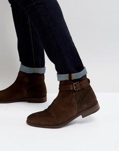 Коричневые замшевые ботинки челси с ремешками ASOS - Коричневый