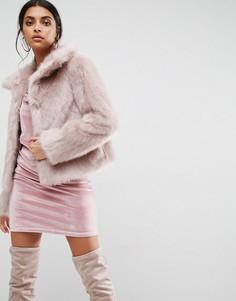Шуба из искусственного меха в винтажном стиле ASOS - Розовый