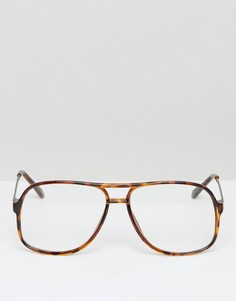 Очки с прозрачными стеклами ASOS Navigator - Коричневый