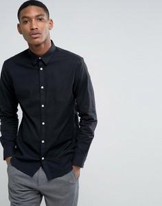 Приталенная эластичная оксфордская рубашка Selected Homme - Темно-синий