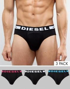 Набор из 3 черных трусов с логотипом на поясе Diesel - Черный