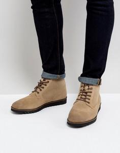 Бежевые замшевые ботинки на шнуровке с белой подошвой ASOS - Светло-серый