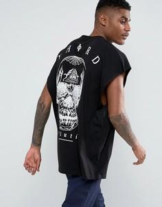Оверсайз-футболка без рукавов с принтом на спине ASOS - Черный