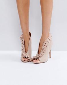 Туфли на высоком каблуке с рюшами и открытым носком ASOS PORT - Бежевый